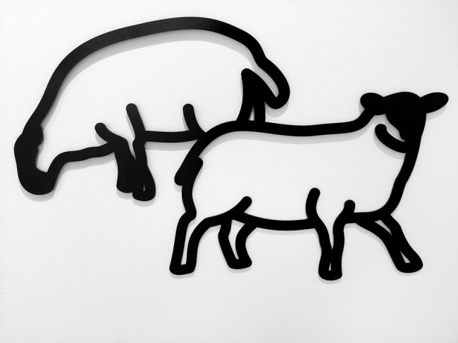 <h3><strong>JULIAN OPIE</h3></strong><div><h3><strong><em>Sheep 1 / Sheep 3 / Sheep 2</h3></strong></em><div>2015<br>Powder coated aluminum wall reliefs in satin black<br>Sheep 1: 17-5/8″ x 34-1/8″ x 1/8″ / 44.9 x 86.8 x 0.4 cm<br>Sheep 3: 18-1/8″ x 34-1/8″ x 1/8″ / 45.9 x 86.8 x 0.4 cm<br>Sheep 2: 21″ x 32-7/8″ x 1/8″ / 53.2 x 83.6 x 0.4 cm<br>Edition of 25<br>© 2016, Julian Opie</font>