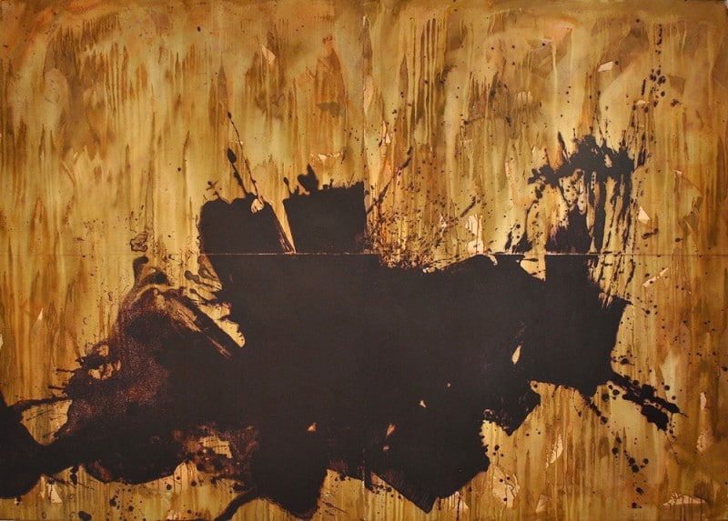 Abstract Howard Hodgkin Print in Brown