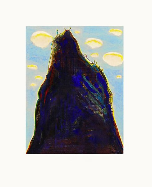 Wayne Thiebaud hand colored etching Mountain Clouds