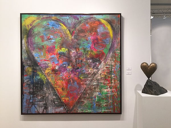 Art Miami 2015 - Jonathan Novak Contemporary Art - Jim Dine heart canvas - Jim Dine heart sculpture