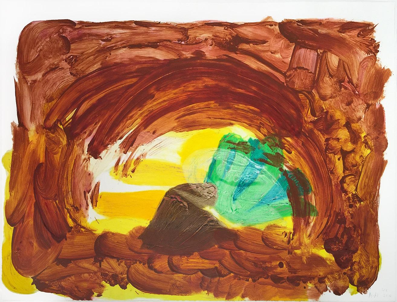 Abstract Howard Hodgkin Print Brown Yellow