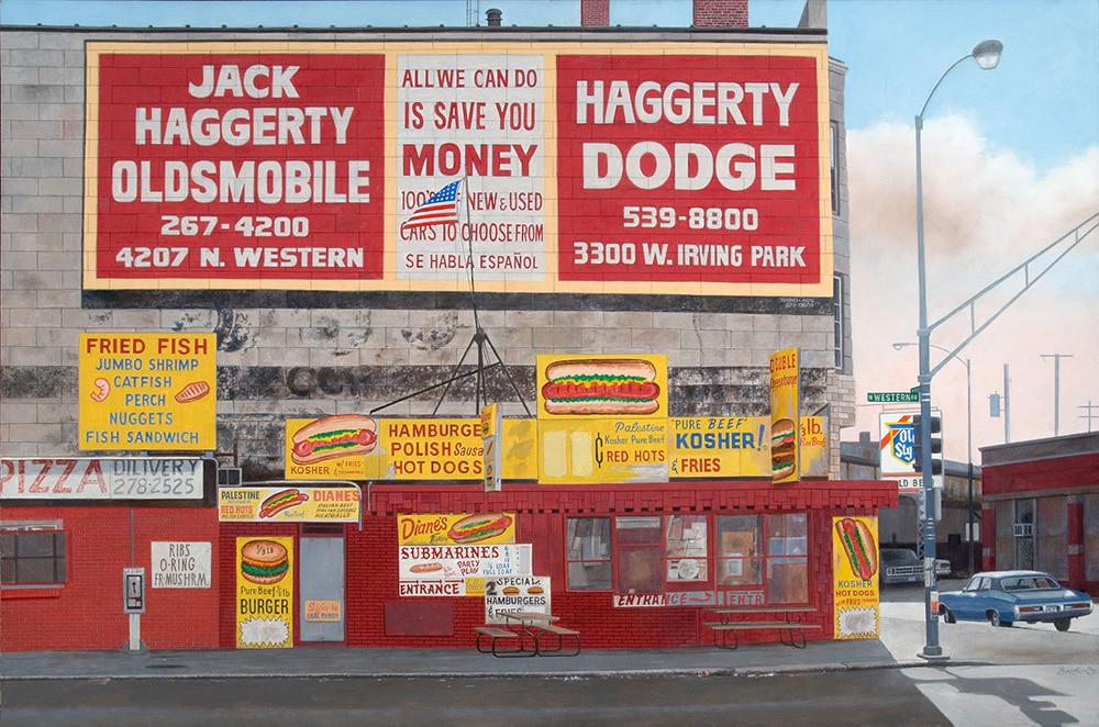 John Baeder Photorealist Painting of Hot Dog Stand