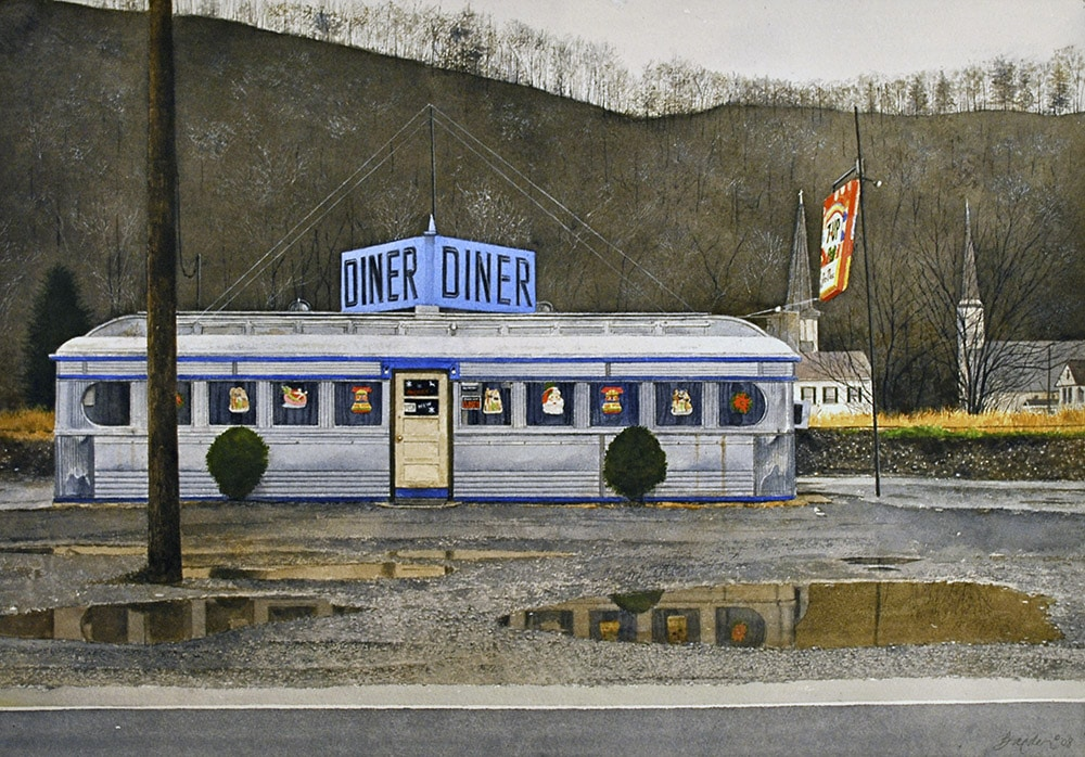 John Baeder Watercolor Painting of Diner on Rainy Day