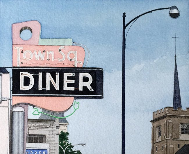 John Baeder Watercolor Painting of Town Square Diner Norwood Massachusetts