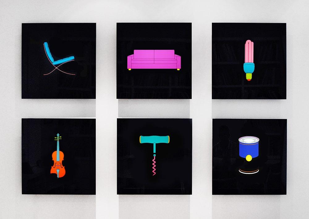 Michael Craig-Martin Chair Sofa Lightbulb Violin Corkscrew Soupcan