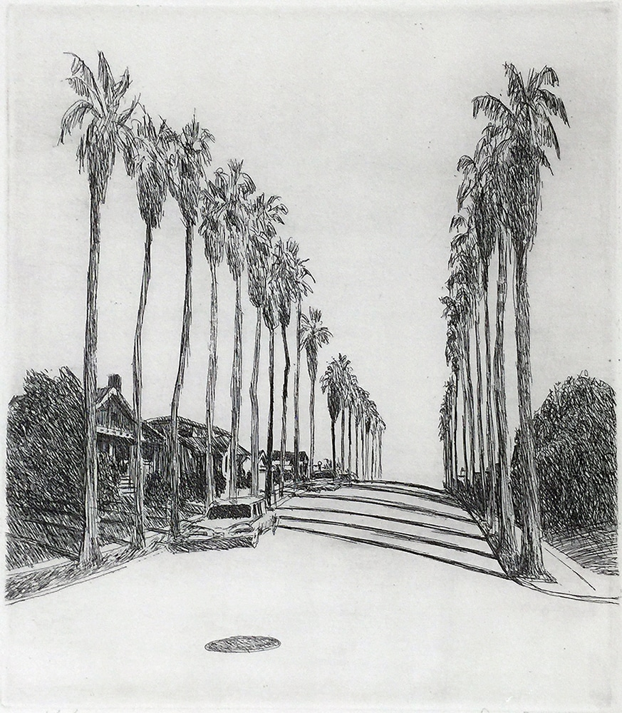Robert Bechtle Black and White Print Street with Palm Trees