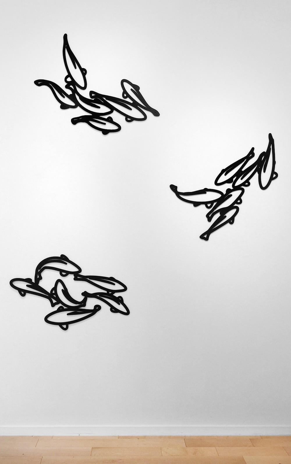 Julian Opie Wall Sculptures of Fish