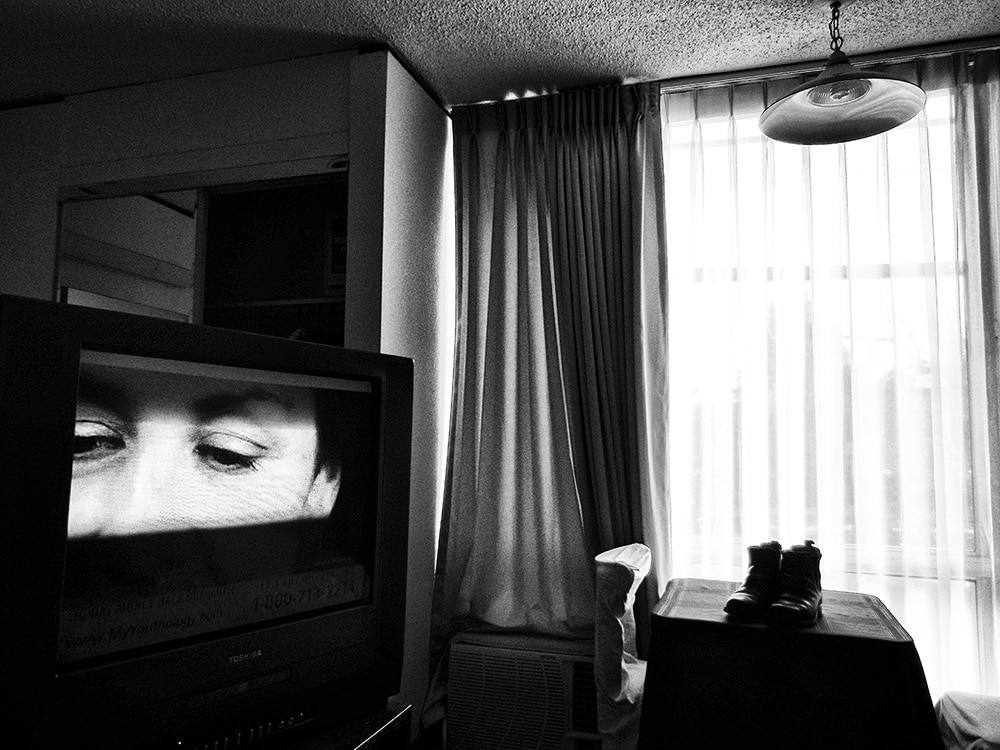 Daido Moriyama Black and White Photograph of Interior with TV