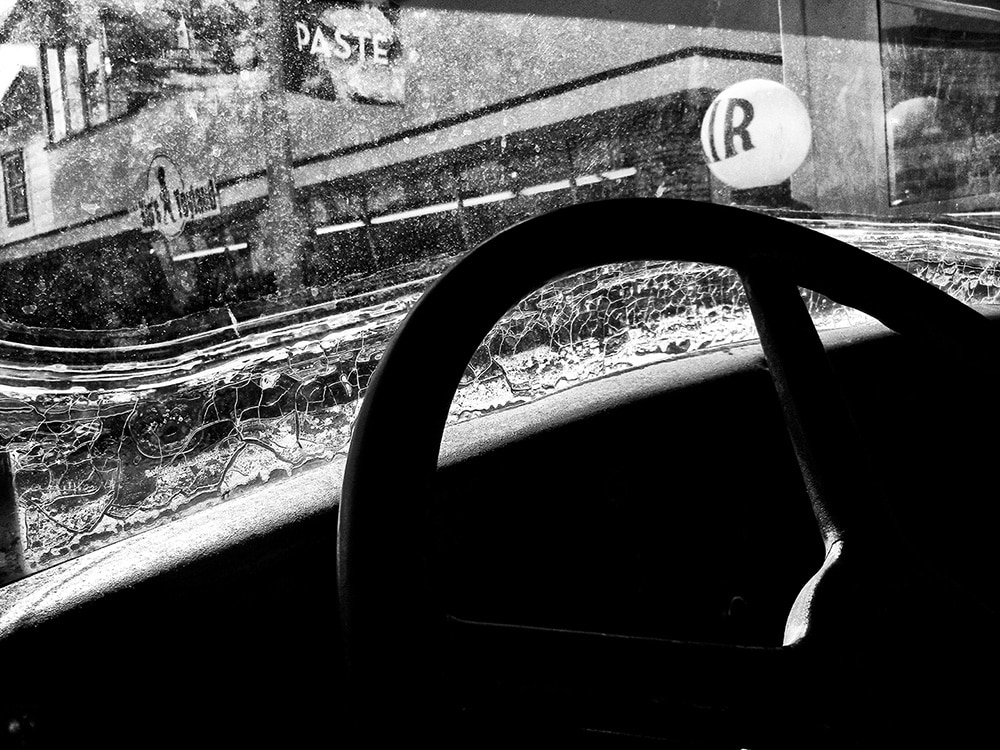 Daido Moriyama Black and White Photograph of Steering Wheel