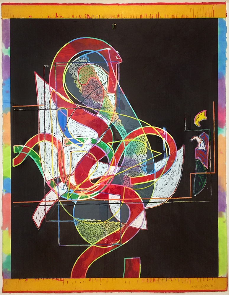 Frank Stella Print Colorful on Black Background Pergusa Three