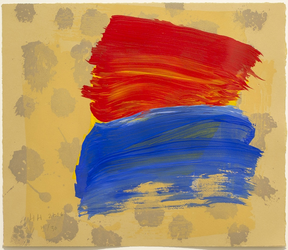 Abstract Howard Hodgkin Print Red Blue with Dots