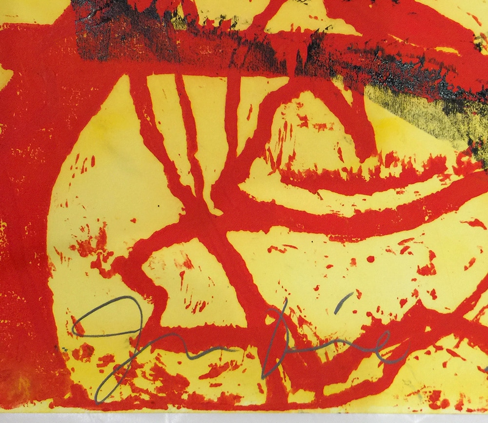 Signature on Abstract Jim Dine Print