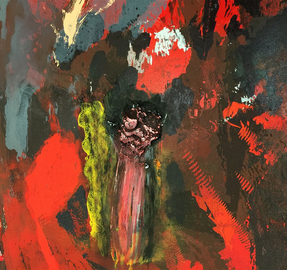 Closeup of Abstract Jim Dine Print Red and Black