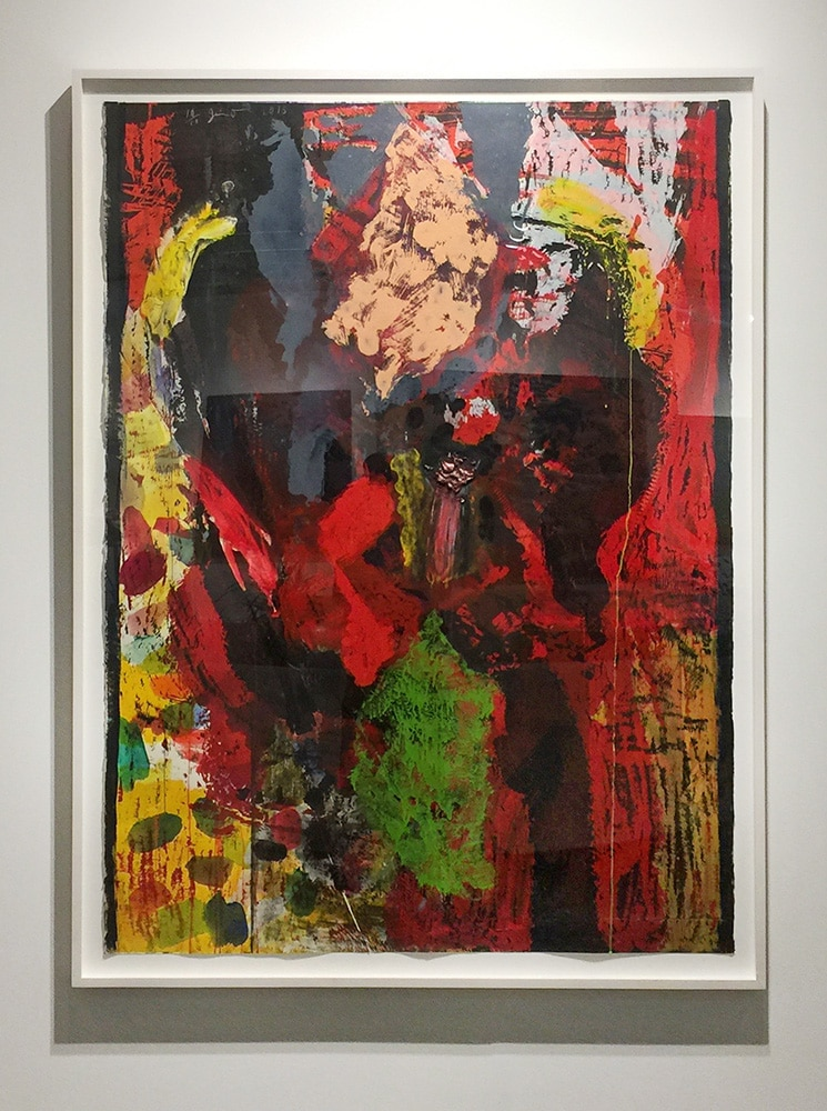 Framed Abstract Jim Dine Print Red and Black