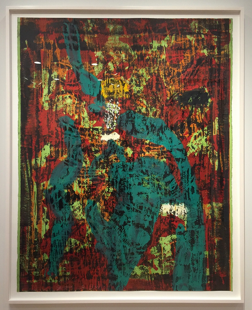 Framed Abstract Jim Dine Print Green Brown