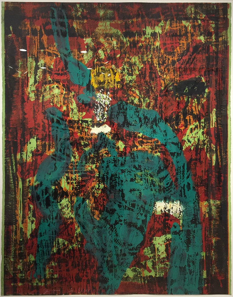 Abstract Jim Dine Print Green Brown