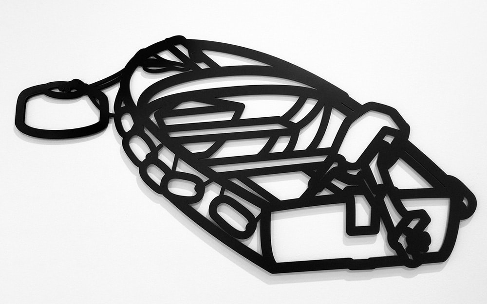 Julian Opie Black Metal Wall Relief of Boat