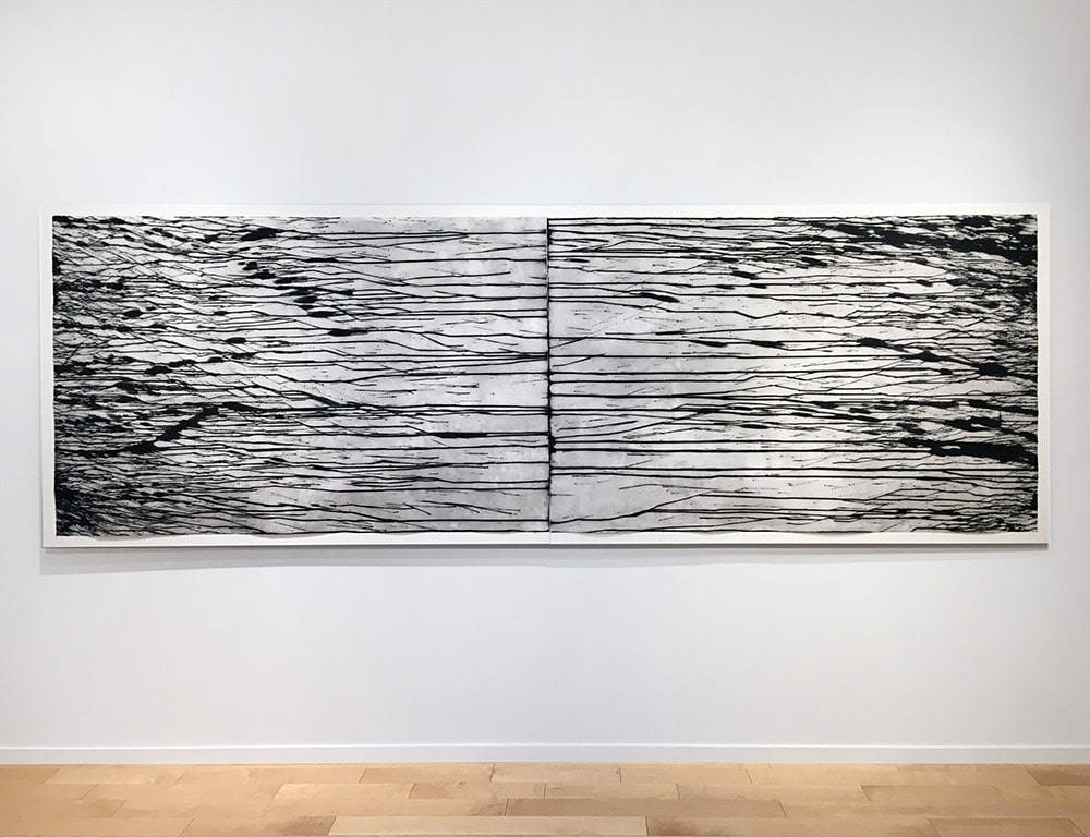 Black and White Richard Long Print Installed for Exhibition