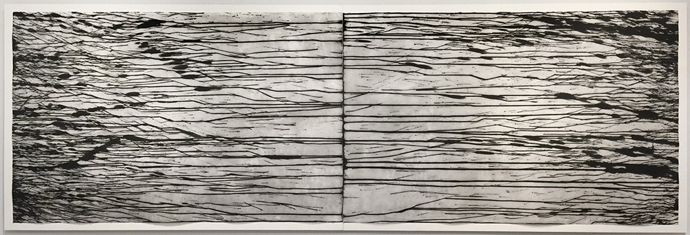 Abstract Richard Long Print Black Horizontal Drips