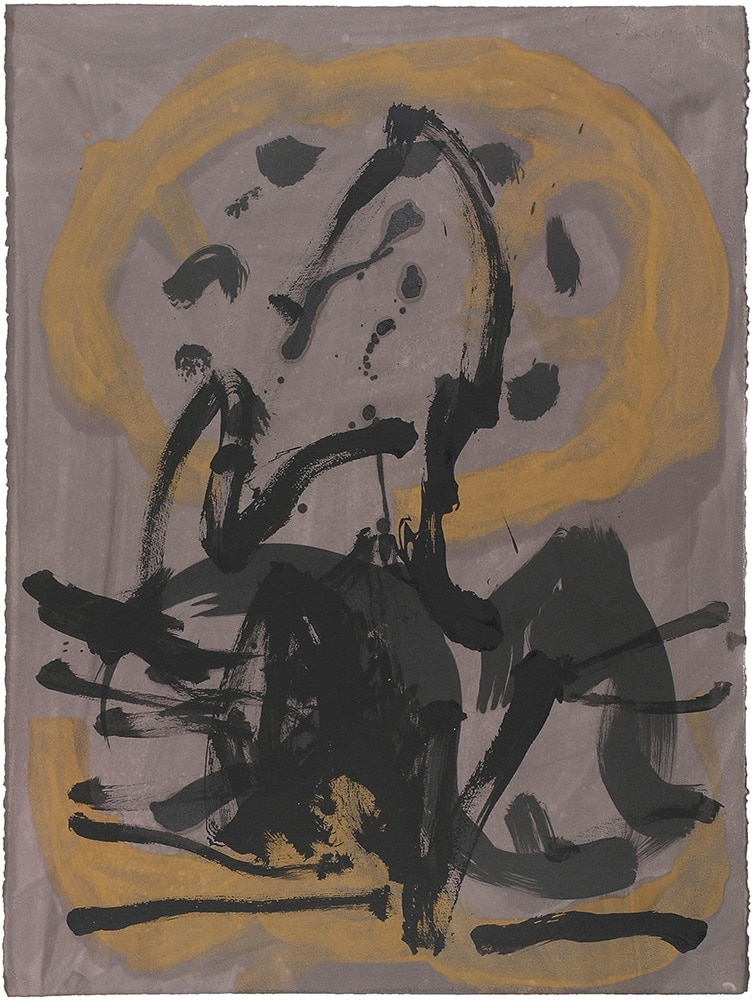 Robert Motherwell Monotype in Brown and Yellow 1977