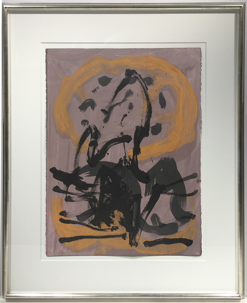 Robert Motherwell Monotype in Brown and Yellow