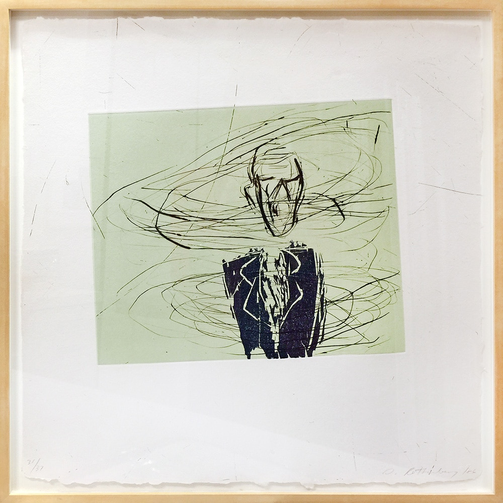 Framed Green Susan Rothenberg Print of Man Breathing