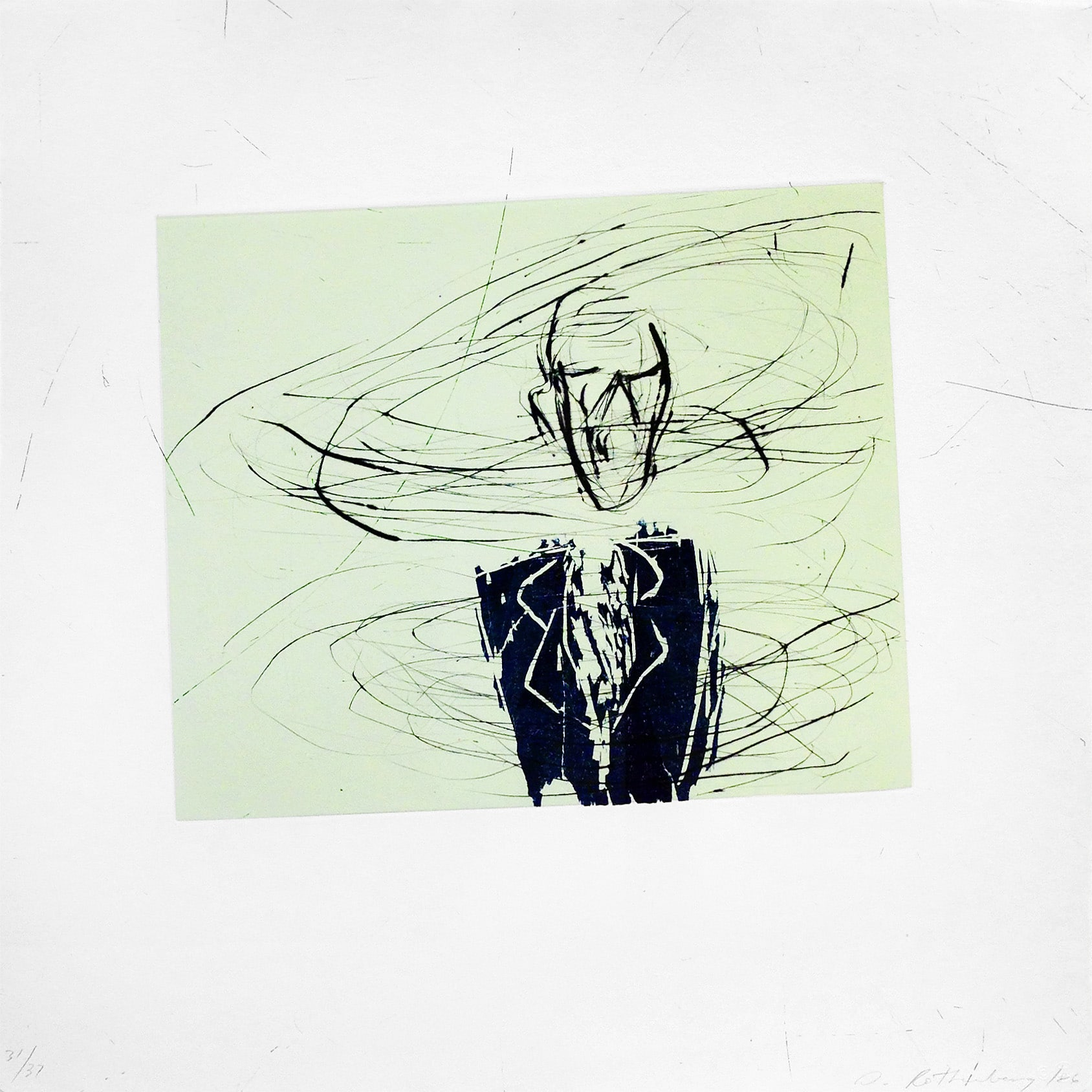 Green Susan Rothenberg Print of Man Breathing