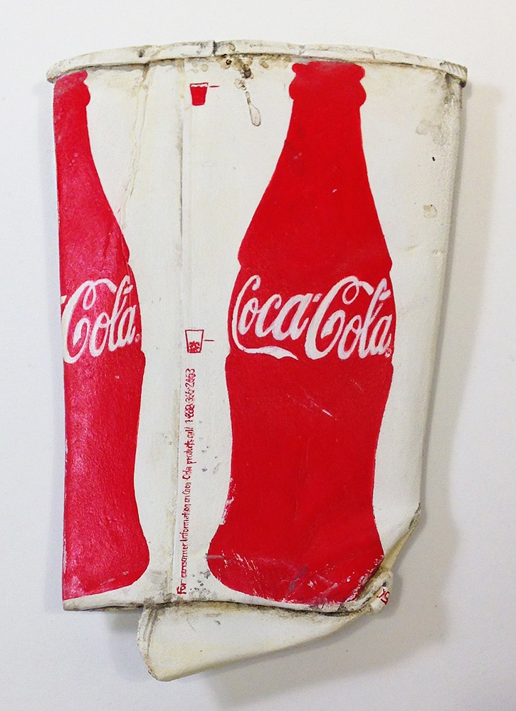 Photorealist Sculpture of Crushed Coca Coca Cup