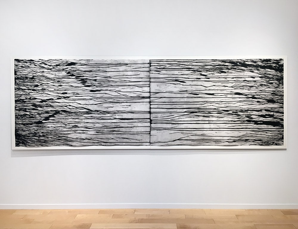 Richard Long Black and White Diptych Installed for Exhibition