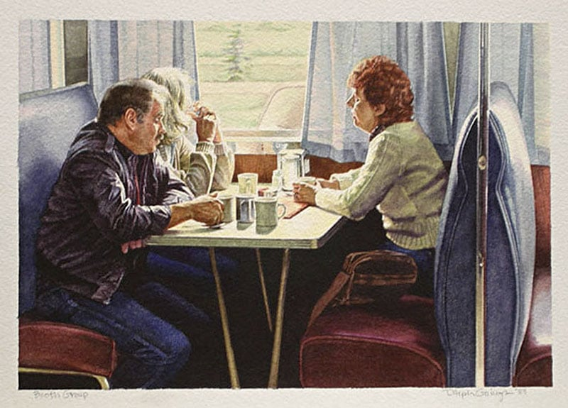 Ralph Goings Watercolor Painting Diner Booth