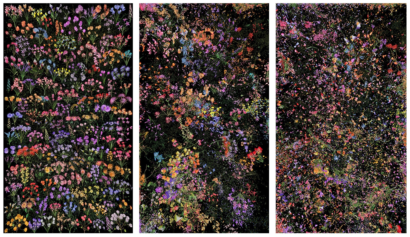 Jennifer Steinkamp Multicolored Floral Triptych