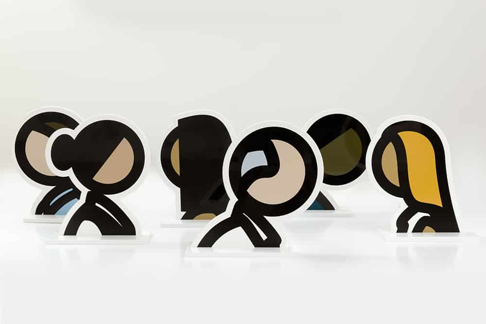 Julian Opie Sculptures of Six Heads