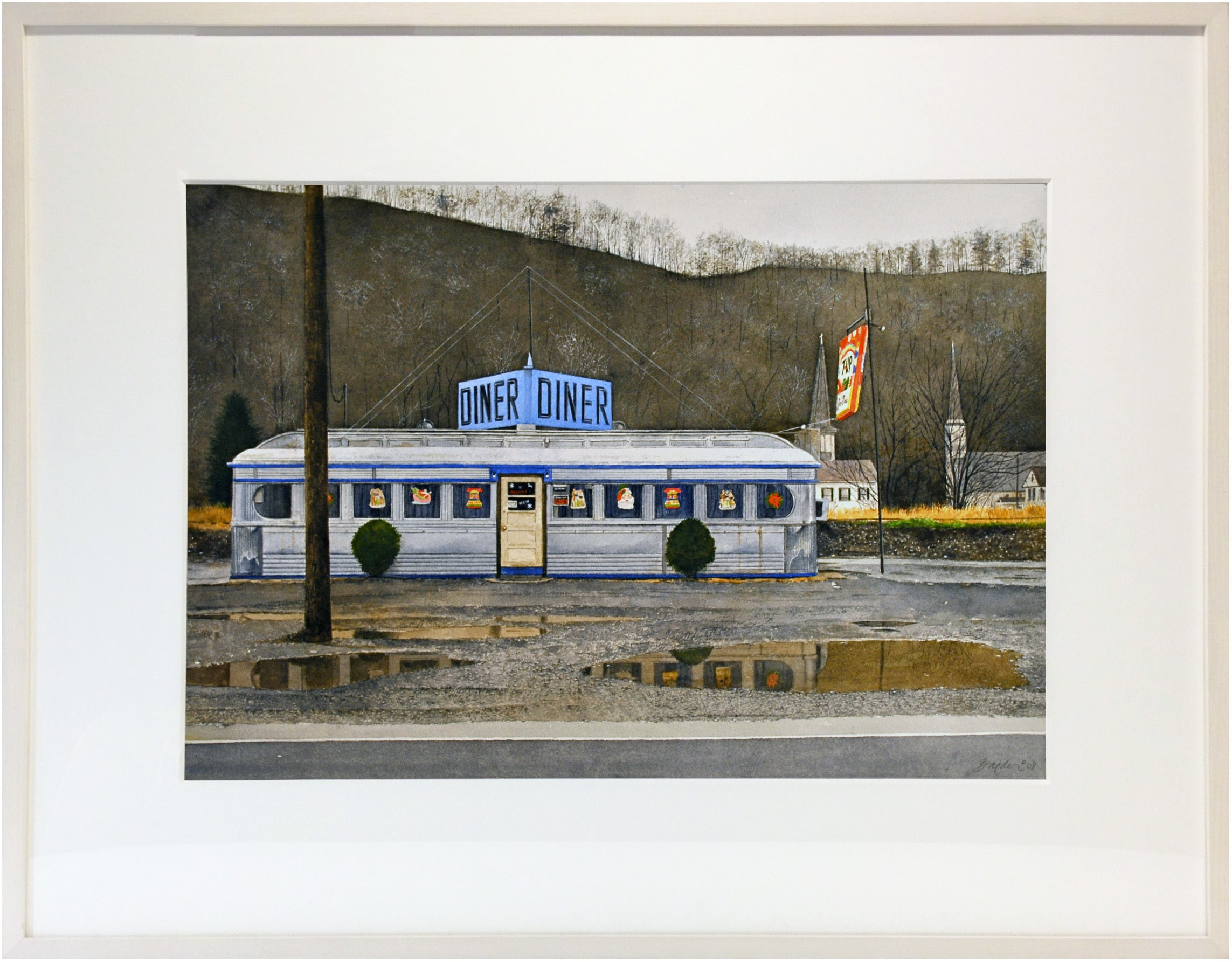 John Baeder Watercolor Painting Diner Rainy Day