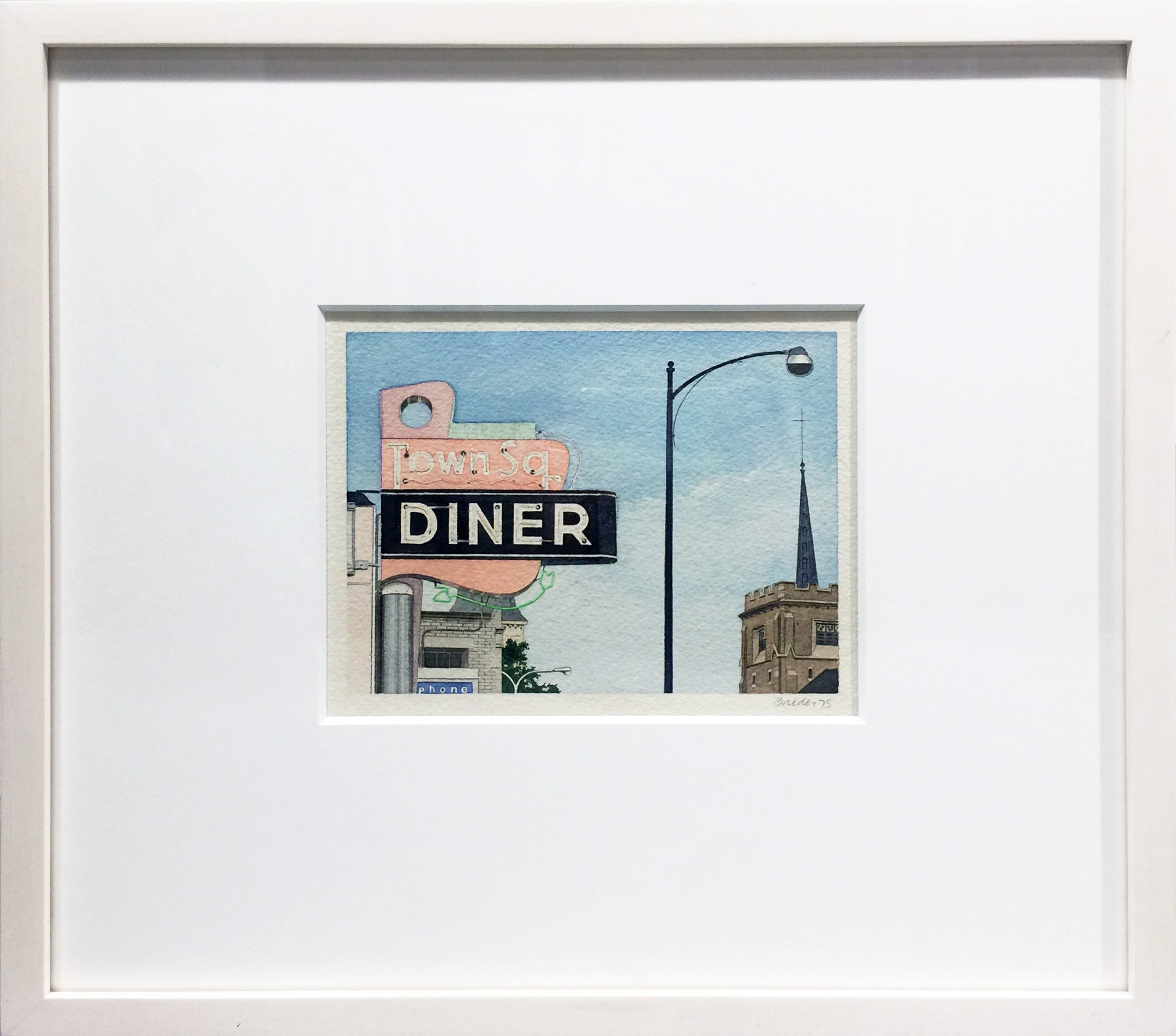 John Baeder Watercolor Painting Diner Norwood Massachusetts
