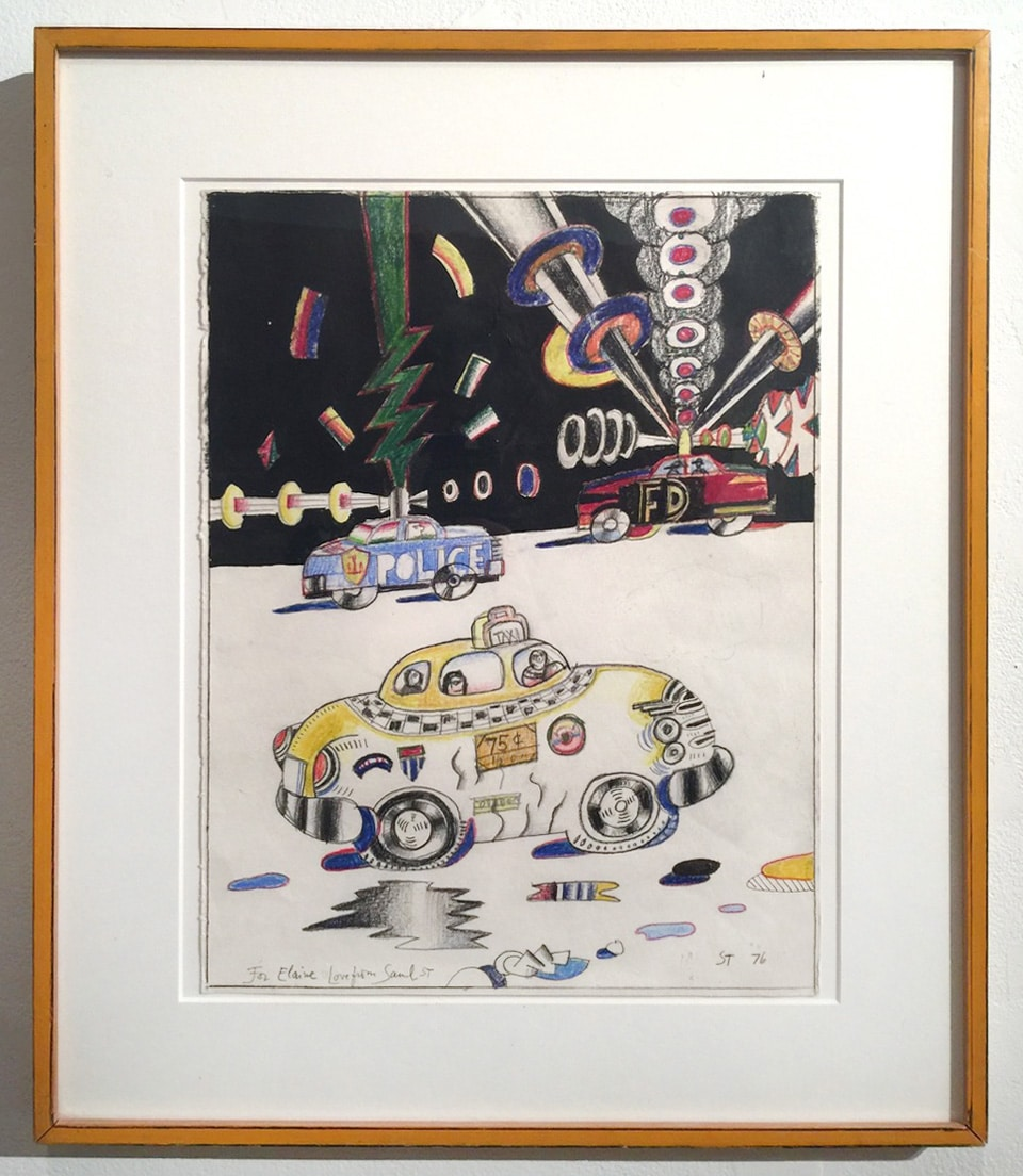 Saul Steinberg Cartoon Drawing of Taxi Police Car and Firetruck