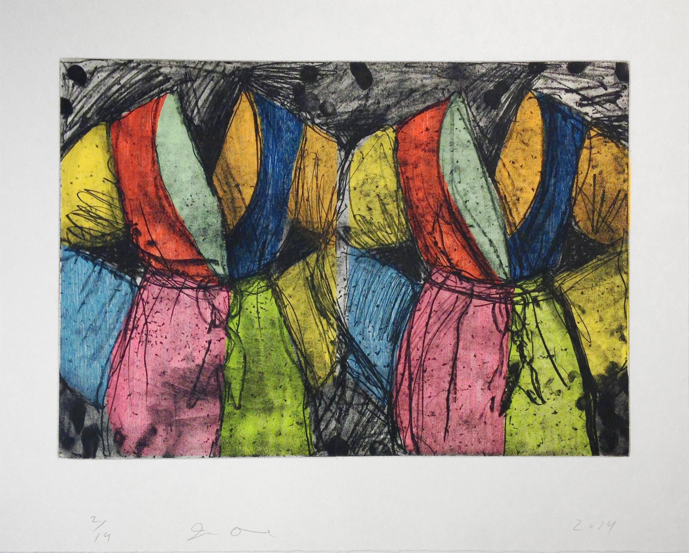 Jim Dine Robe Diptych Rainbow Colors with Charcoal Lines
