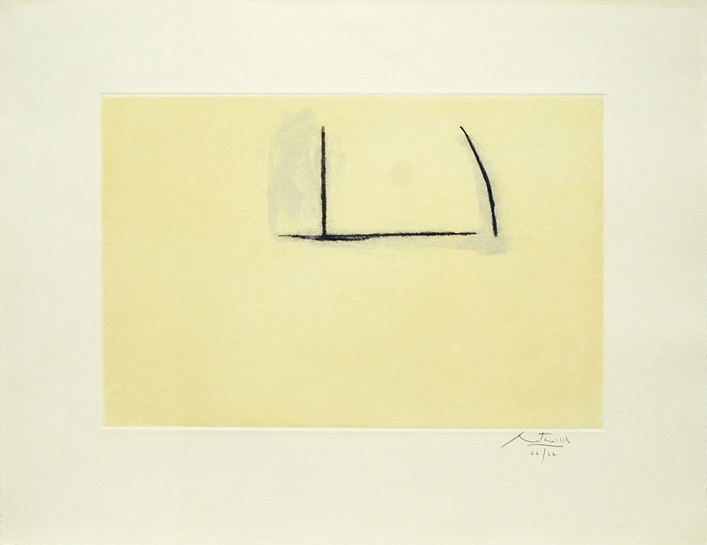 Robert Motherwell Abstract Print Yellow with Black Lines