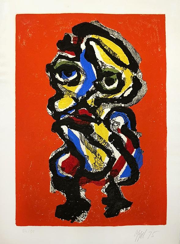 Karel Appel Abstract Print Red 1975