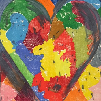 Jim Dine Using White Over Black Print