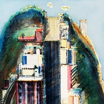 Wayne Thiebaud Steep Street Hand-colored Etching