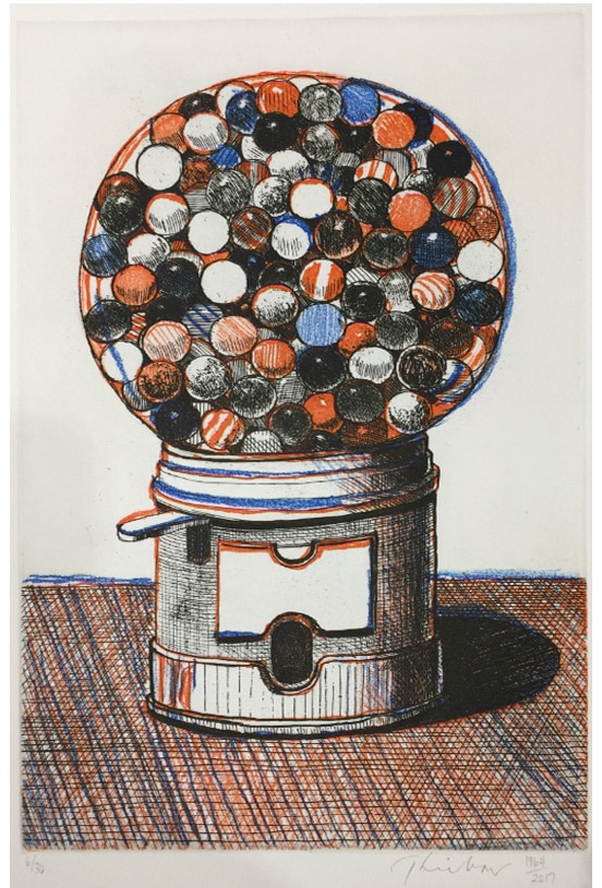 wayne thiebaud hand colored etching