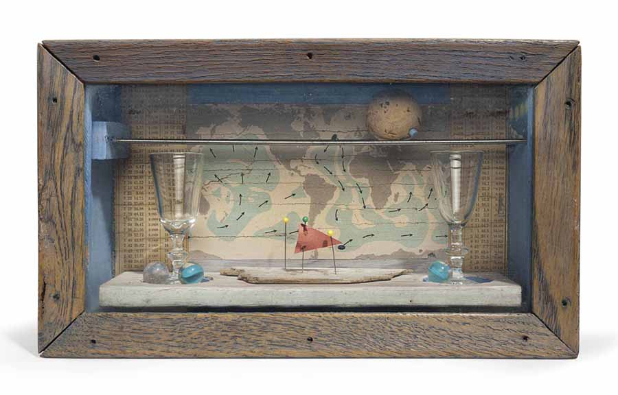 Joseph Cornell Wood Box with Map and Glassware