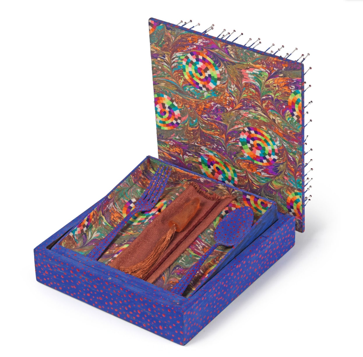 1977 Lucas Samaras Sculpture Colorful Box with Fork Spoon