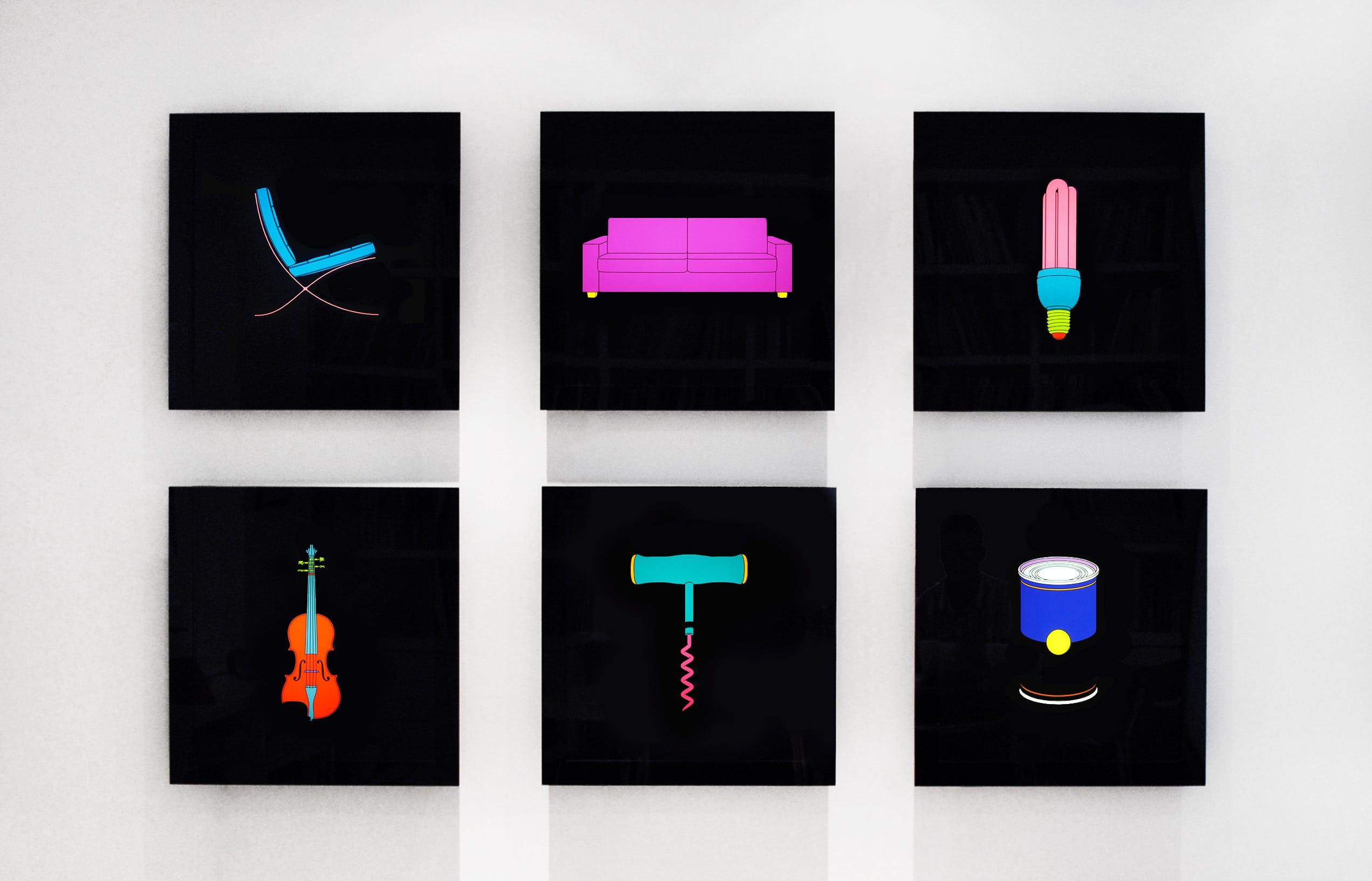 Michael Craig-Martin Installation of Chair Sofa Lightbulb Violin Corkscrew Soup Can