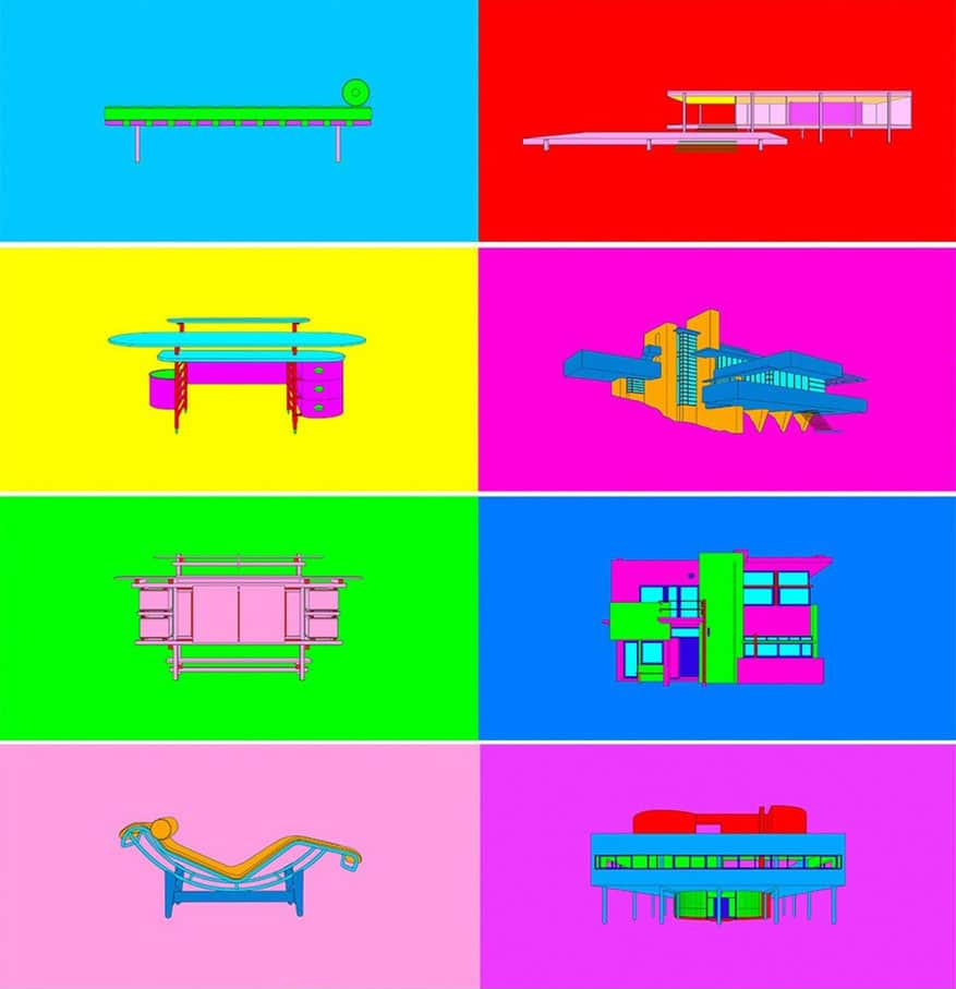 Furniture and architecture design by famous architects in bright colors