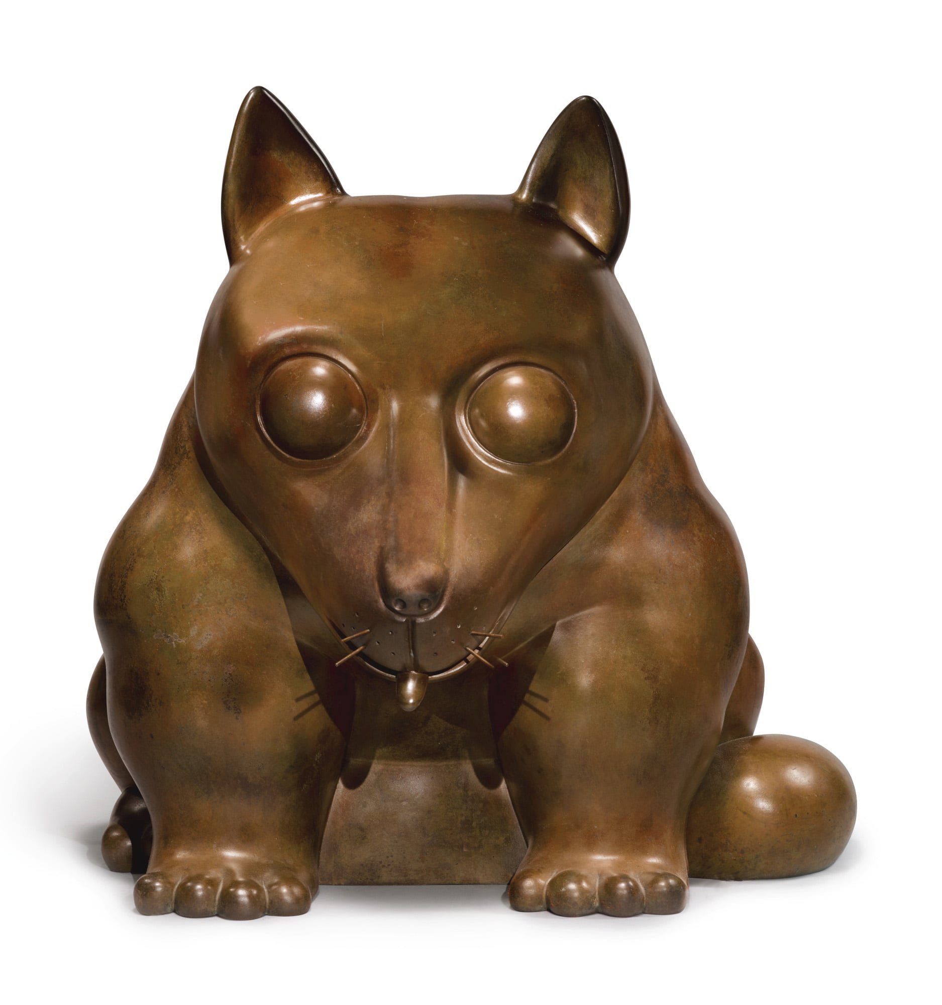 Bronze sculpture of a dog by Fernando Botero