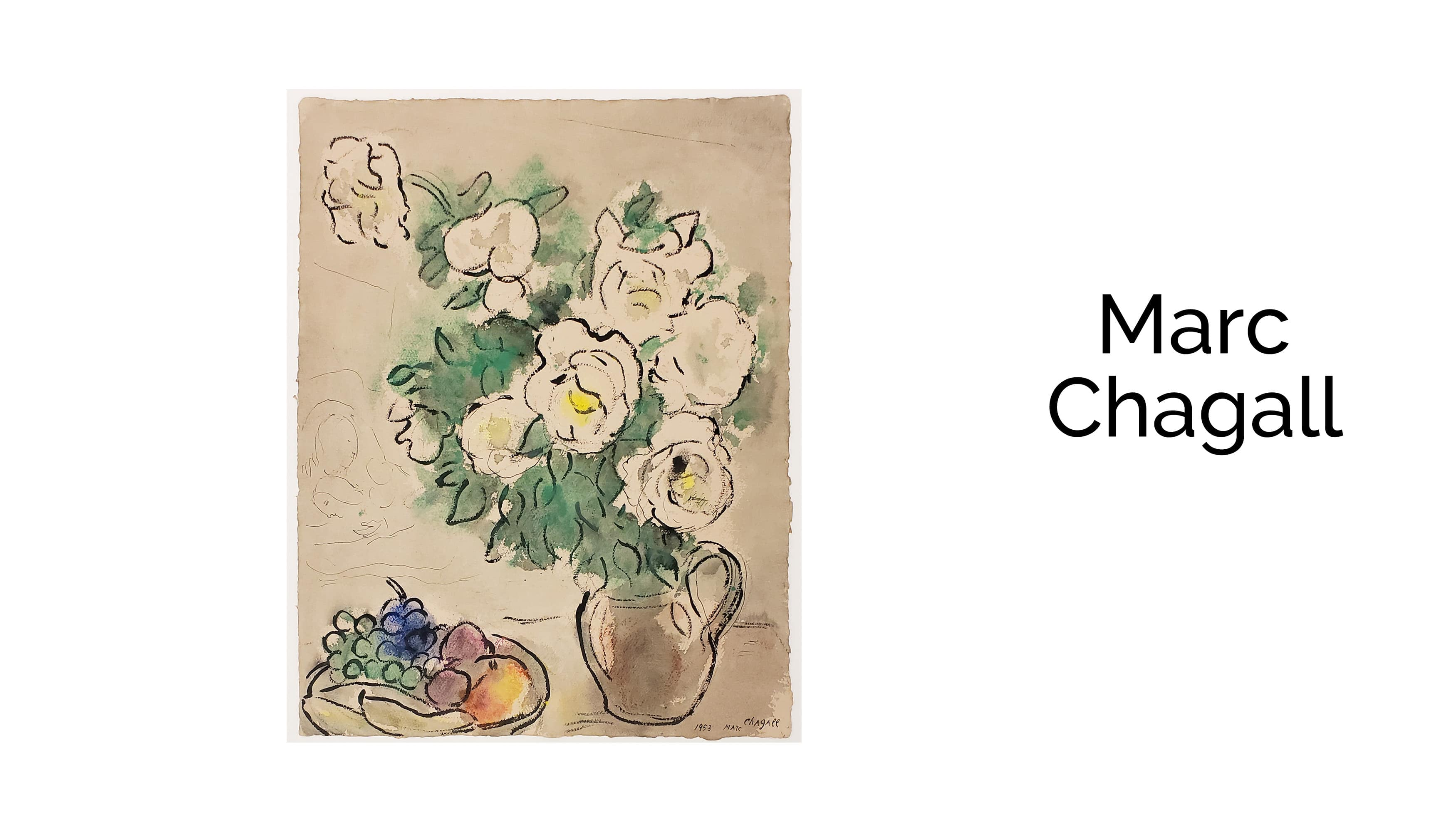 Marc Chagall - White Roses and Still Life with Fruit Bowl