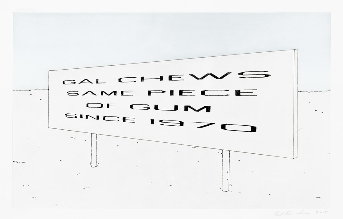 Highway sign print by Ed Ruscha