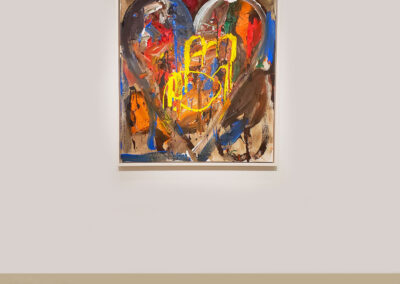 Installation view of abstract heart painting on canvas by Jim Dine