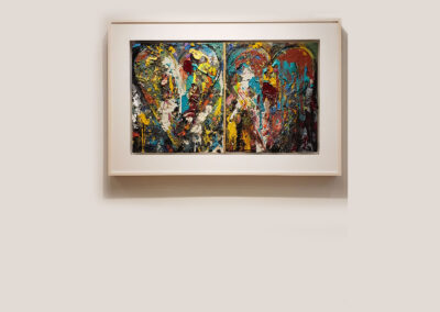 Installation view of abstract, textural heart diptych by Jim Dine